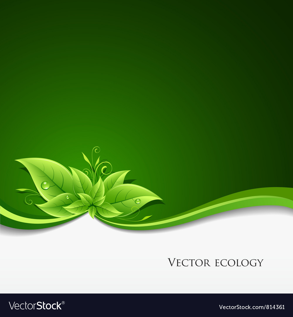 Green leaf ecology on green background vector | Price: 3 Credit (USD $3)