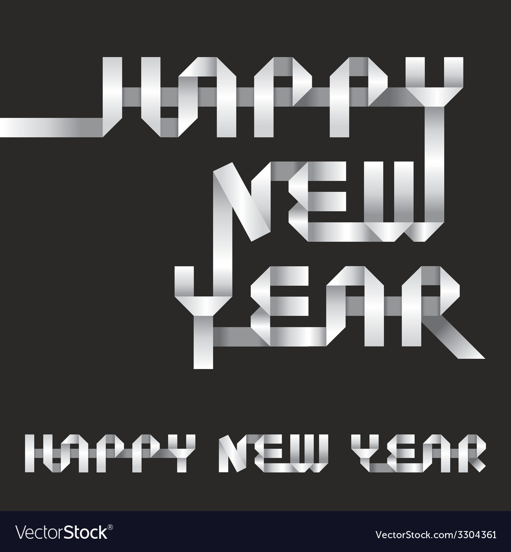 Happy new year origami style vector | Price: 1 Credit (USD $1)