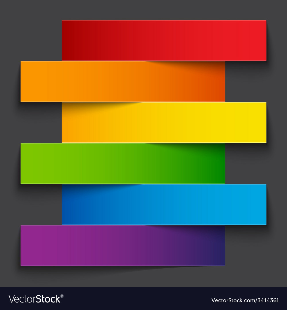 Infographics rainbow paper stripe banners with vector | Price: 1 Credit (USD $1)