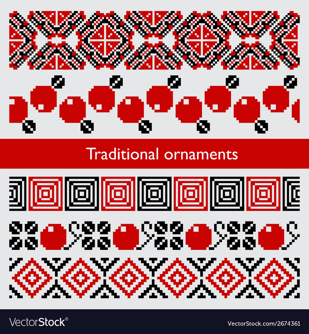 Traditional pixel seamless ornaments embroidery vector | Price: 1 Credit (USD $1)