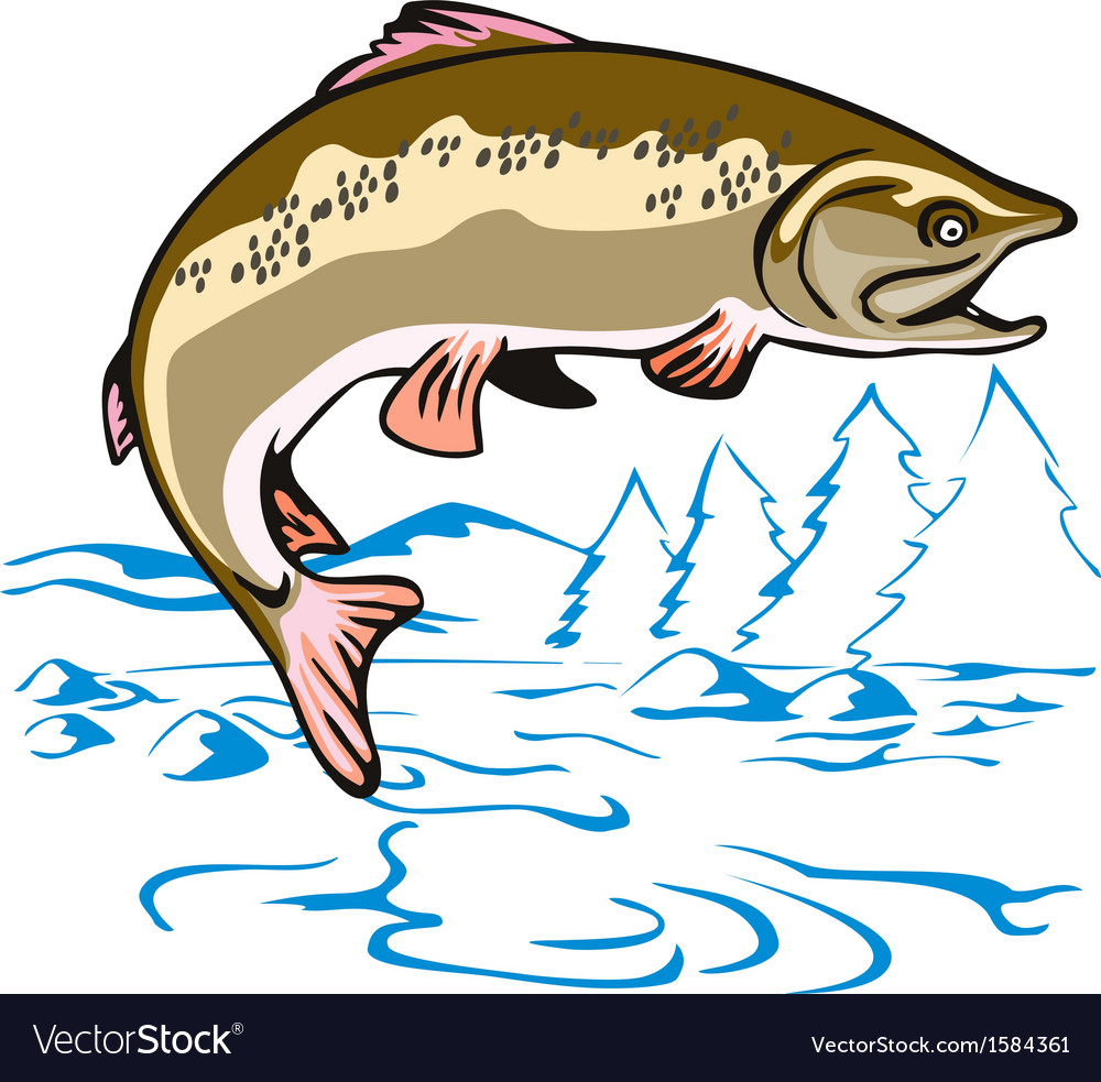 Trout fish jumping vector | Price: 1 Credit (USD $1)