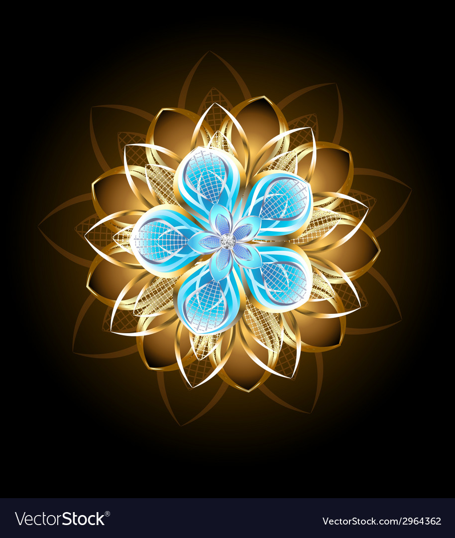 Abstract turquoise flower vector   Price: 1 Credit (USD $1)