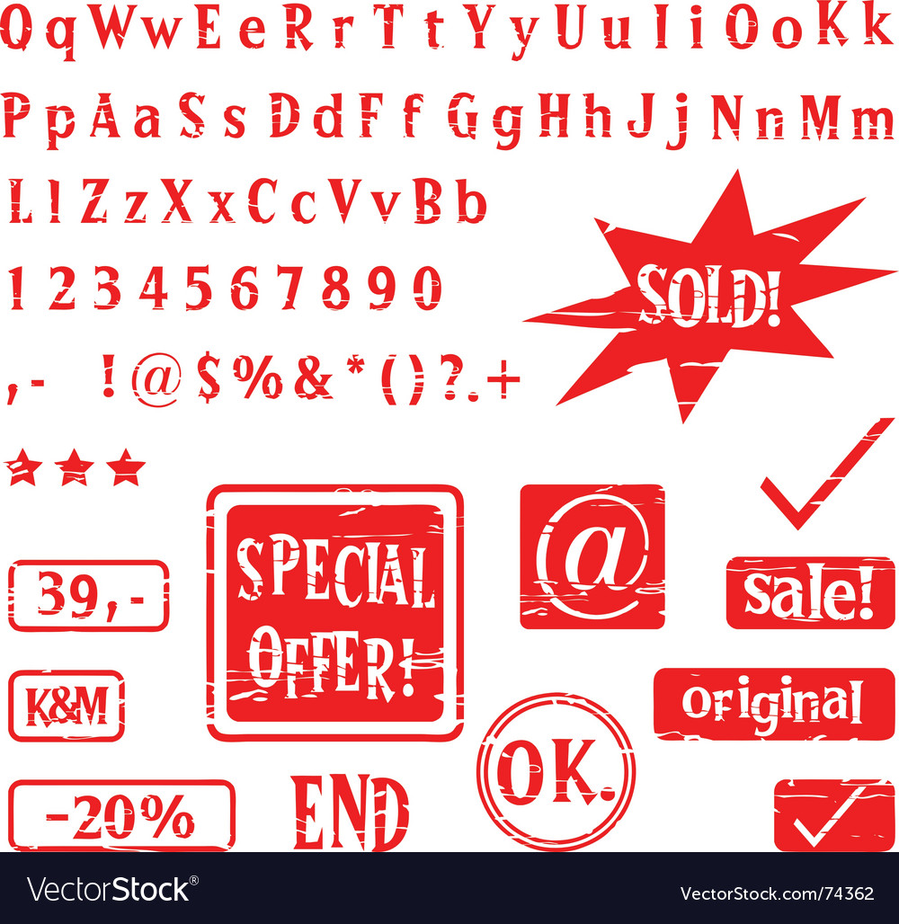 Alphabet and stamps vector | Price: 1 Credit (USD $1)