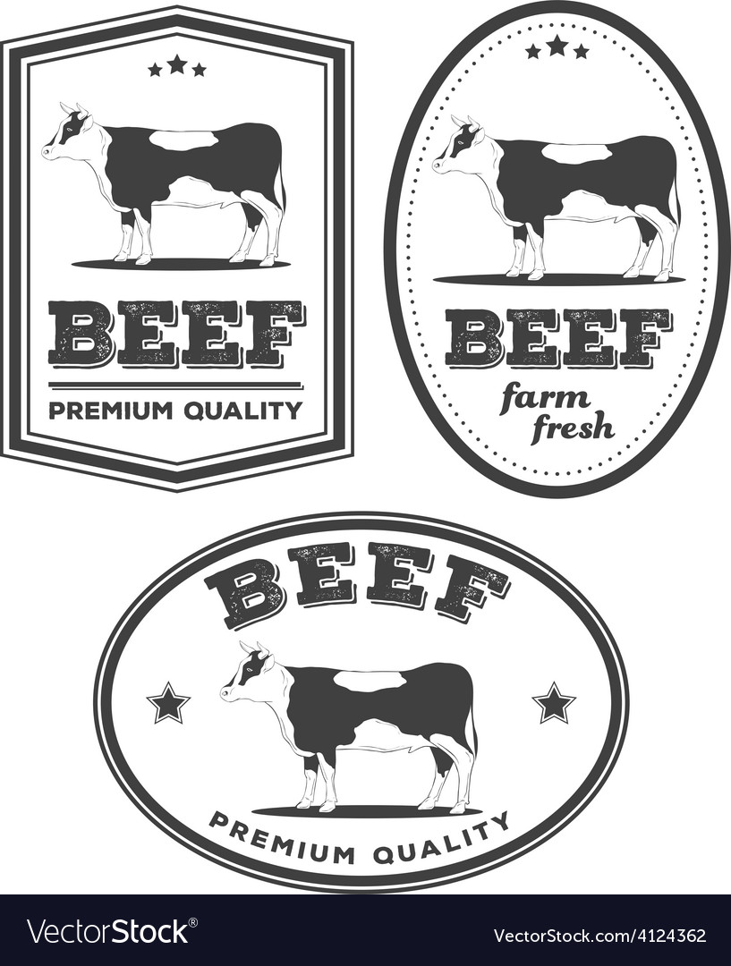 Beef vintage labels vector | Price: 1 Credit (USD $1)