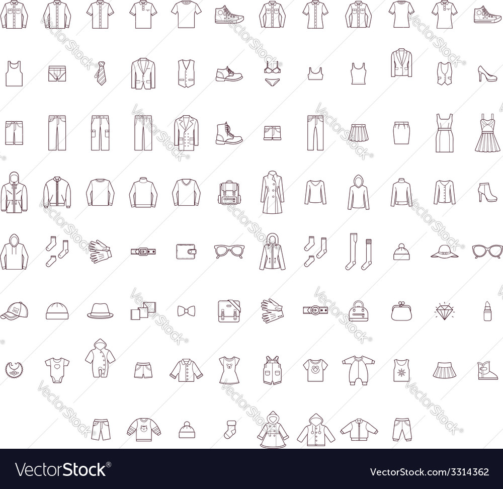 Big clothes set vector