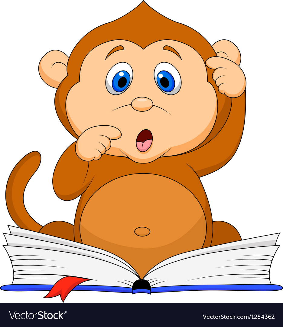 Cute monkey cartoon reading book vector | Price: 3 Credit (USD $3)