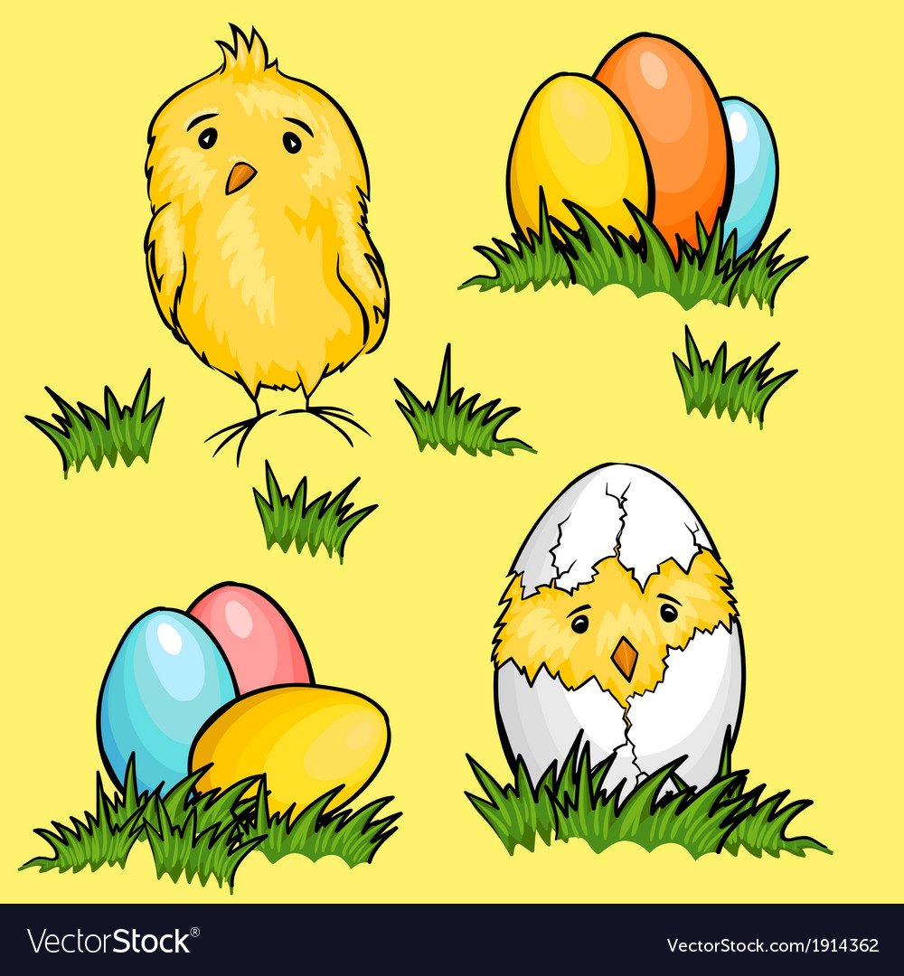 Easter cartoon chicks and eggs in green fresh vector | Price: 1 Credit (USD $1)