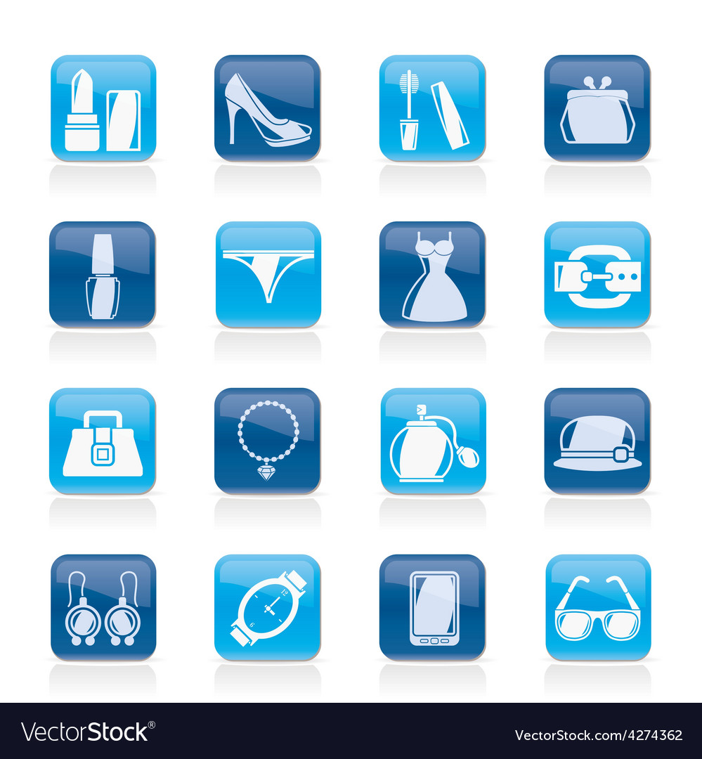 Female fashion objects and accessories icons vector | Price: 1 Credit (USD $1)