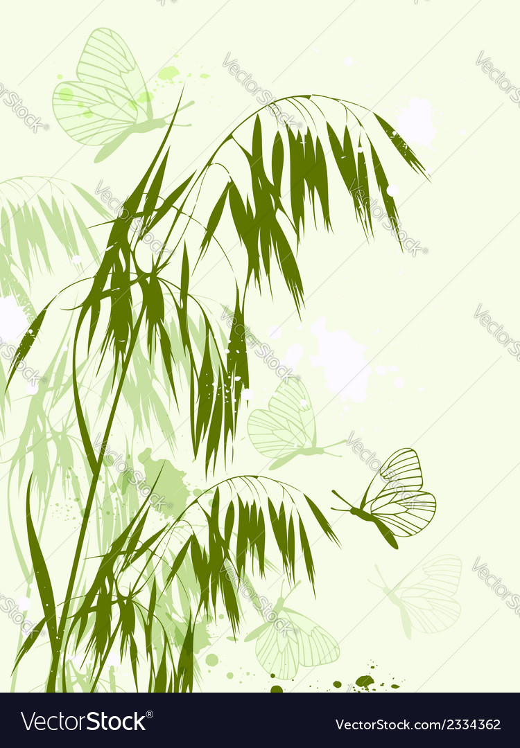 Green oat and butterflies vector | Price: 1 Credit (USD $1)