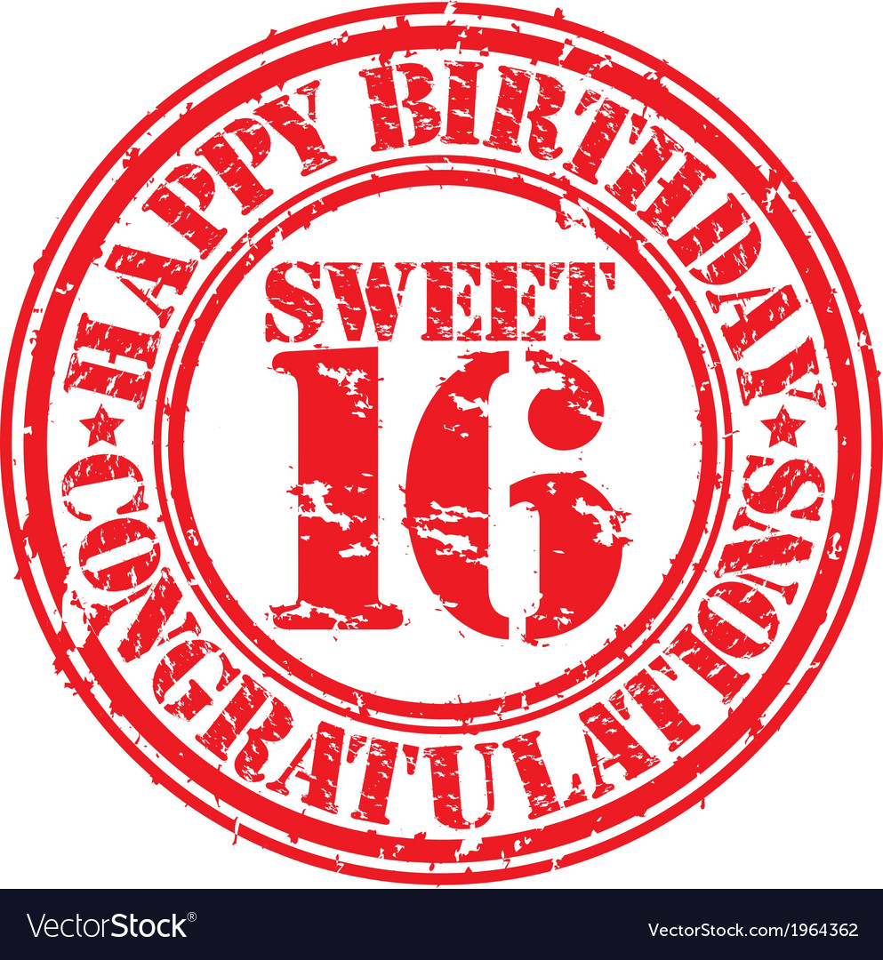 Happy birthday sweet 16 grunge rubber stamp vector | Price: 1 Credit (USD $1)