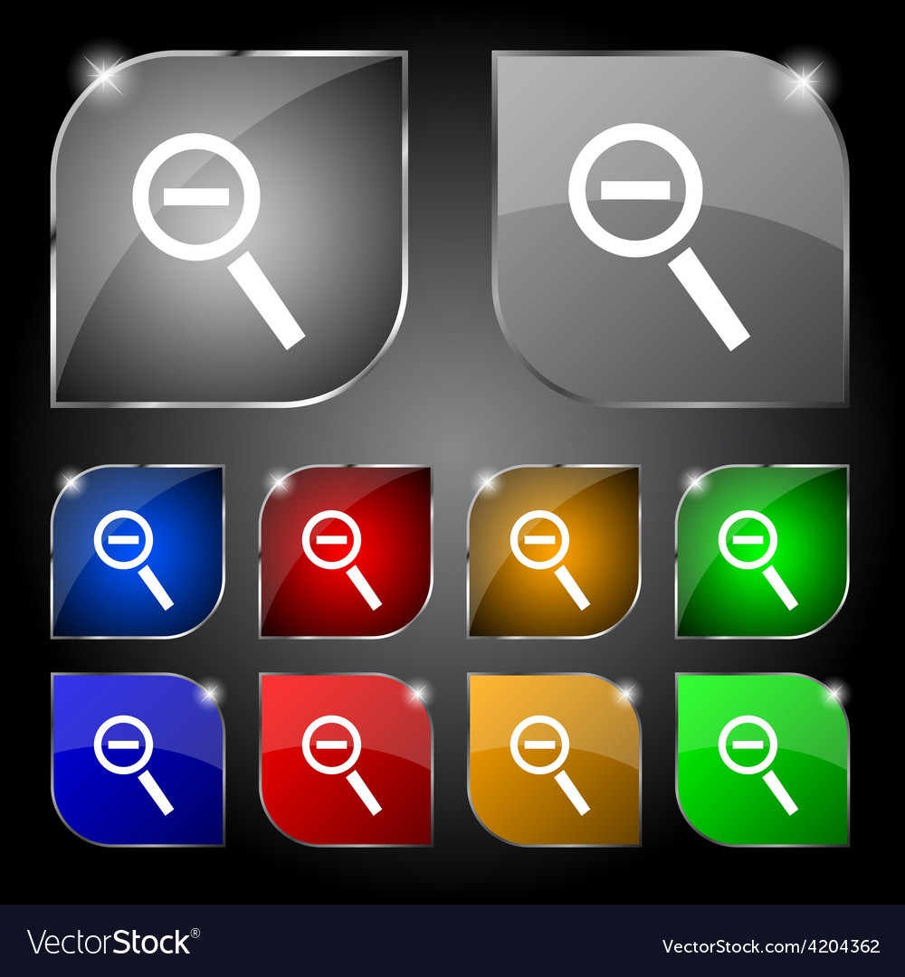Magnifier glass zoom tool icon sign set of ten vector   Price: 1 Credit (USD $1)