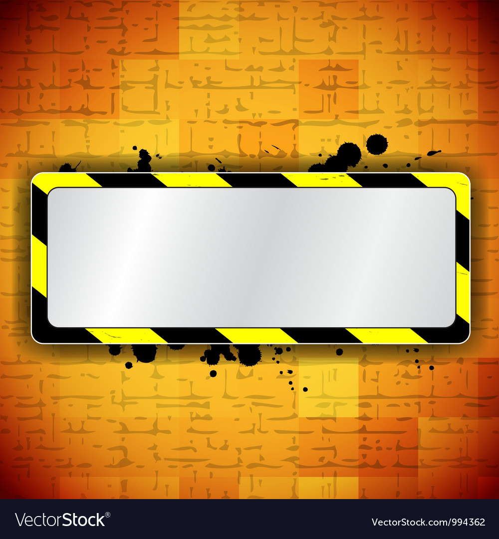 Orange background with frame and warning stripe vector | Price: 1 Credit (USD $1)
