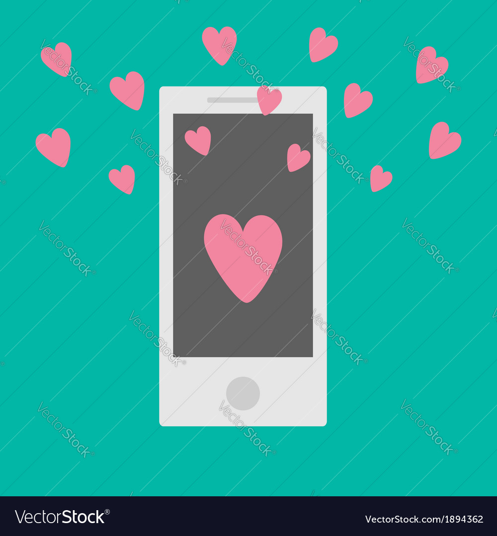Phone with hearts flat design style vector | Price: 1 Credit (USD $1)