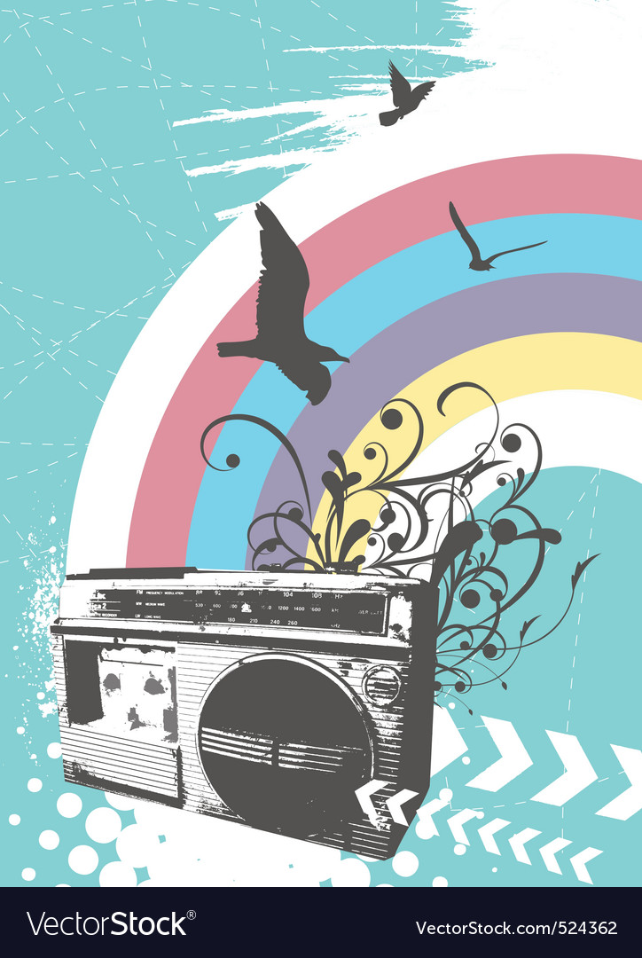 Radio rainbow vector | Price: 1 Credit (USD $1)