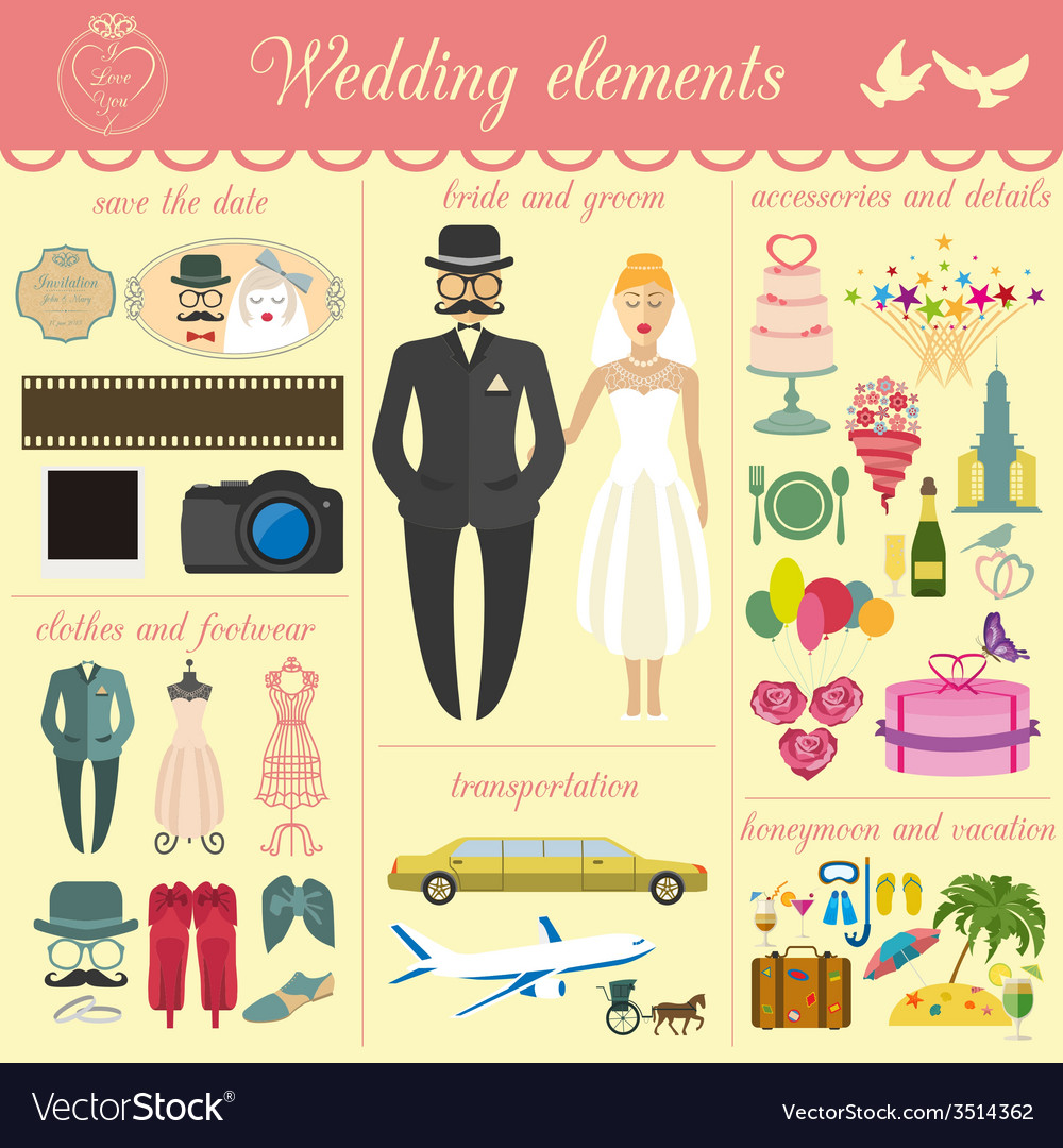 Set of vintage wedding fashion style and travel vector | Price: 1 Credit (USD $1)