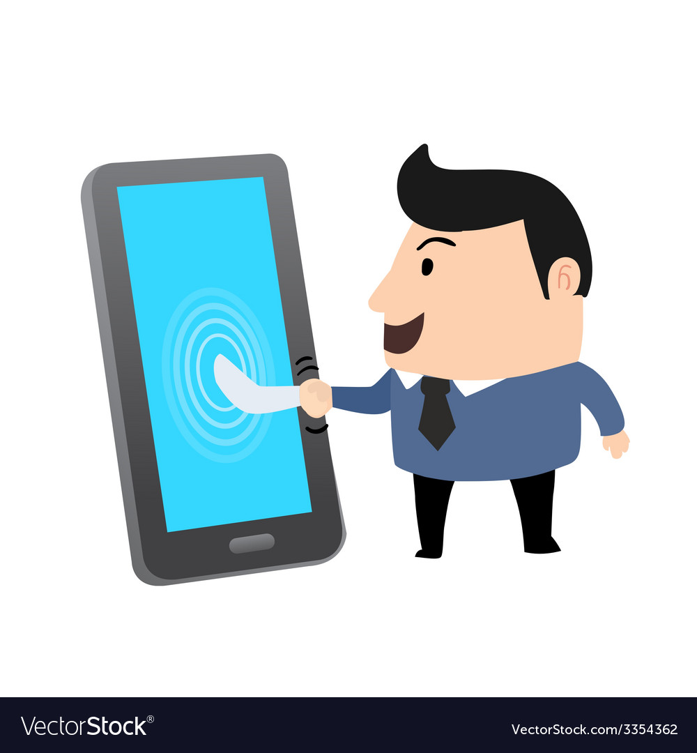 Shake hand with smartphone vector | Price: 1 Credit (USD $1)