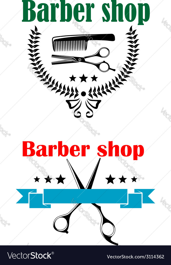 Two barber shop emblems or signs vector | Price: 1 Credit (USD $1)