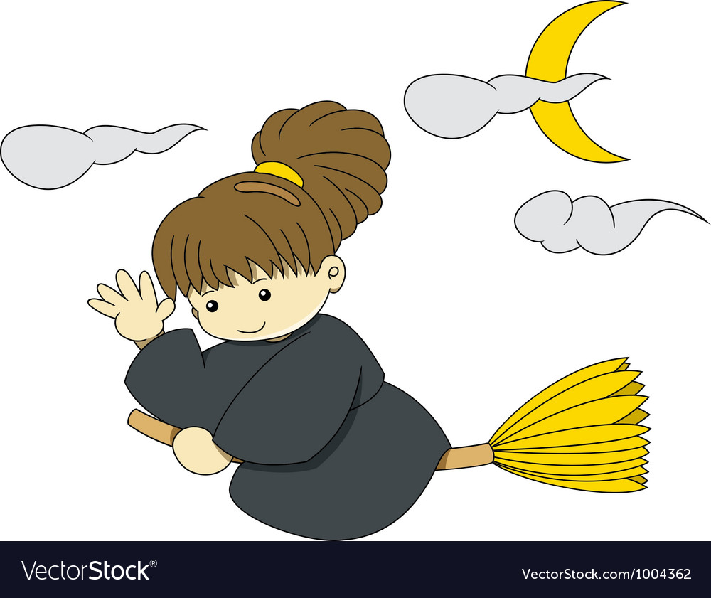 Witch is flying with broom on halloween vector | Price: 1 Credit (USD $1)