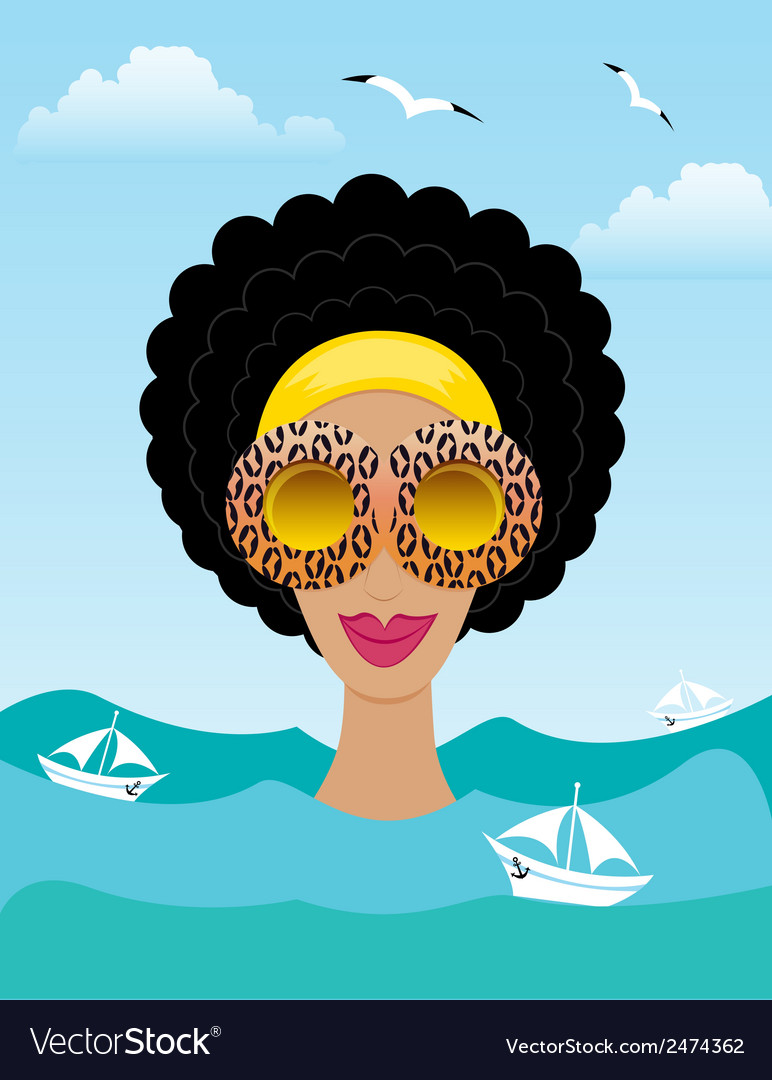 Woman on the sea or ocean vector | Price: 1 Credit (USD $1)