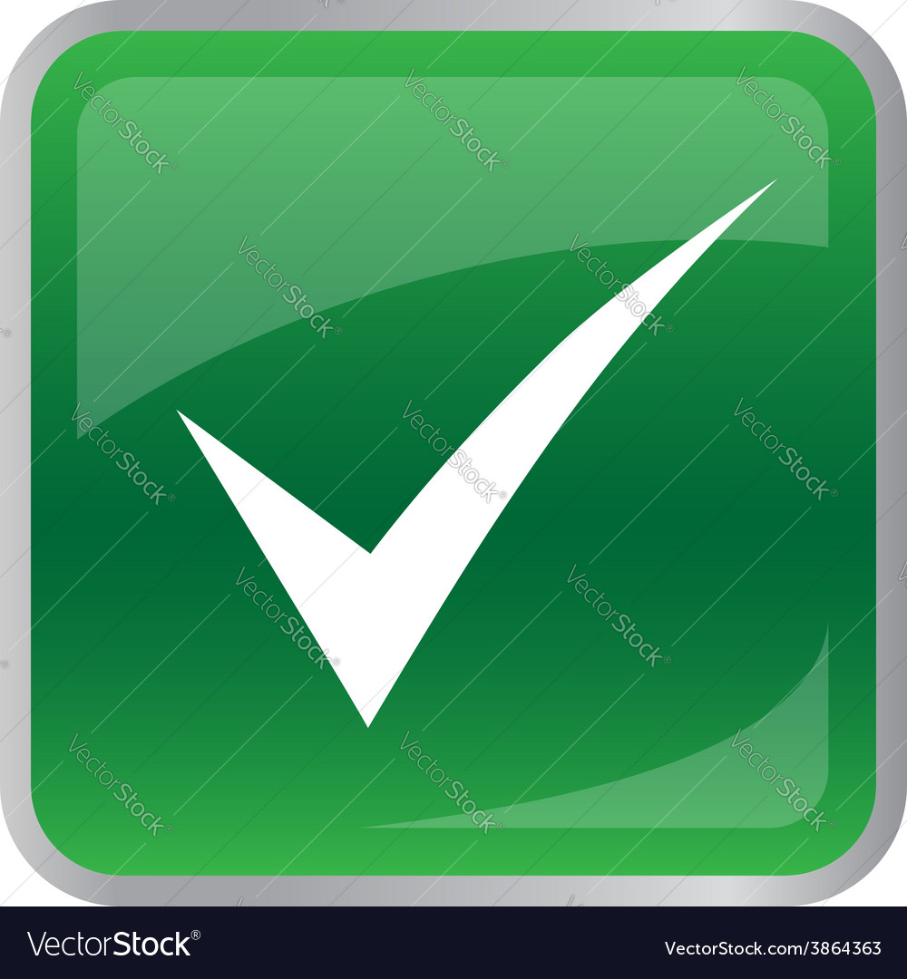 Agree icon on green button vector | Price: 1 Credit (USD $1)