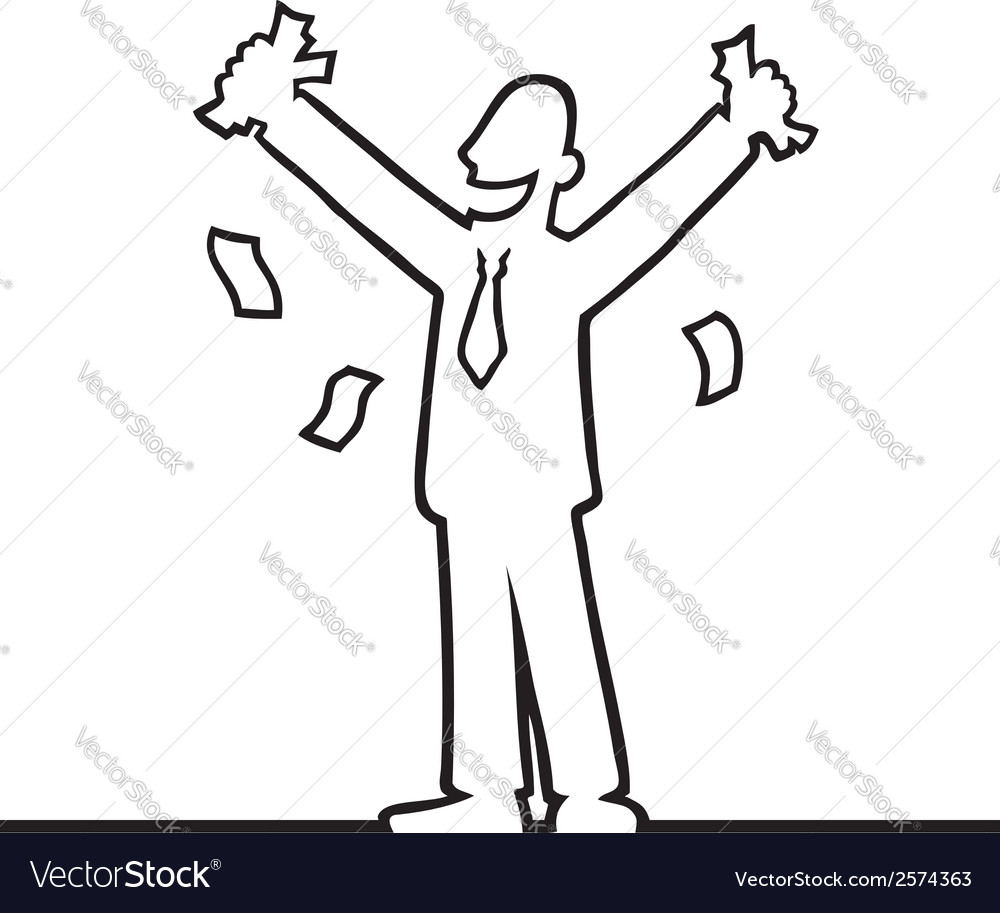 Business man cheering with money in his hands vector | Price: 1 Credit (USD $1)