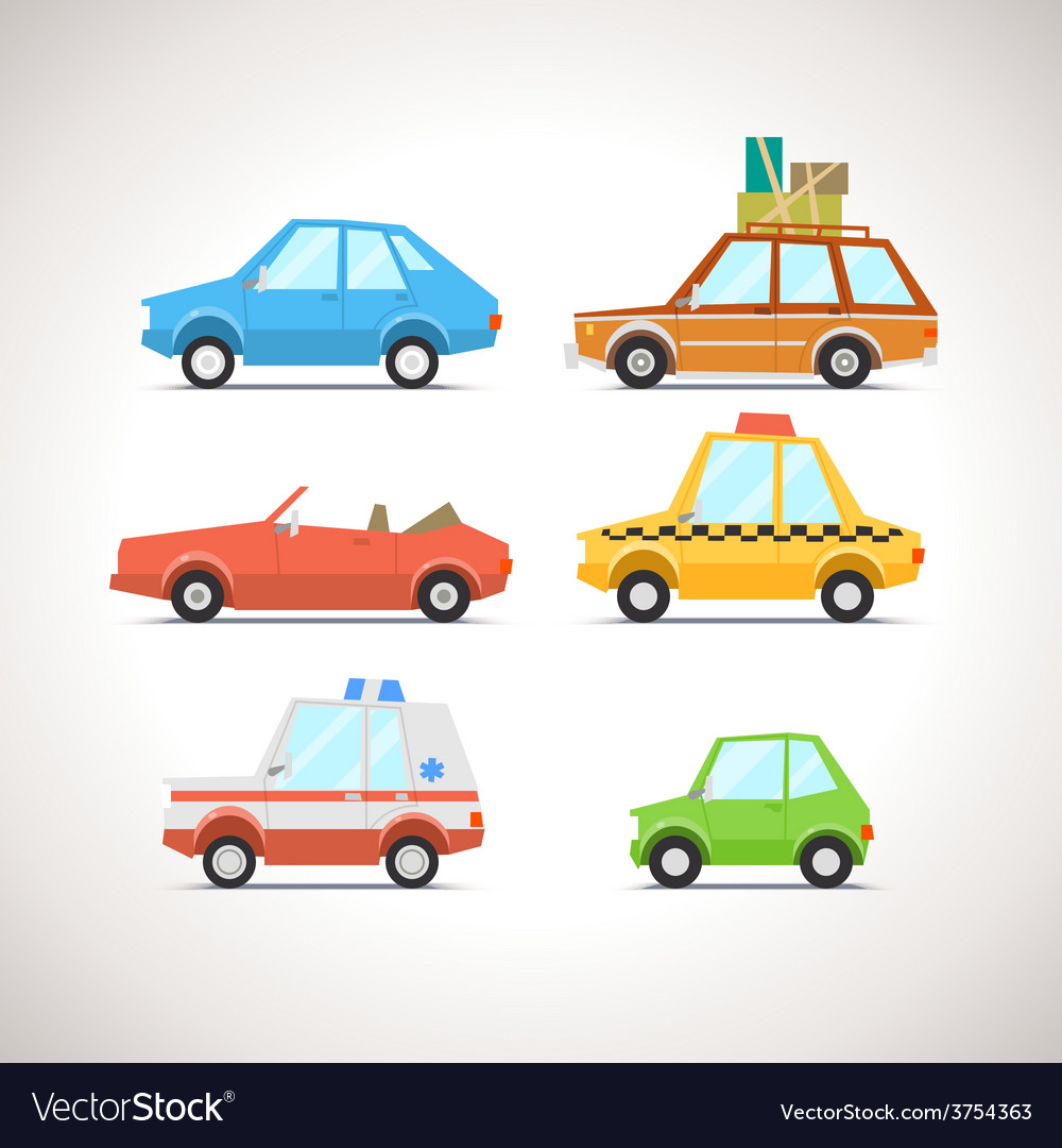 Car flat icon set 1 vector | Price: 3 Credit (USD $3)