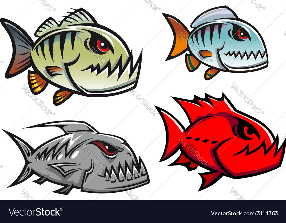 Cartoon colorful pirhana fish characters vector | Price: 1 Credit (USD $1)