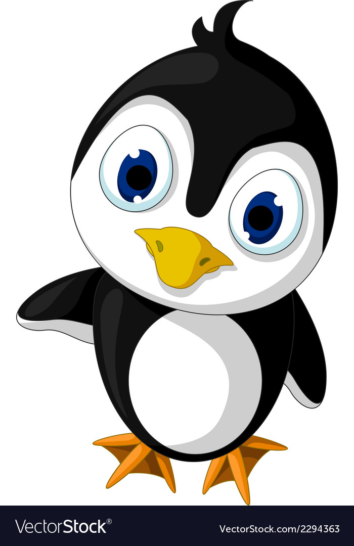 Cute baby penguin cartoon posing vector | Price: 1 Credit (USD $1)