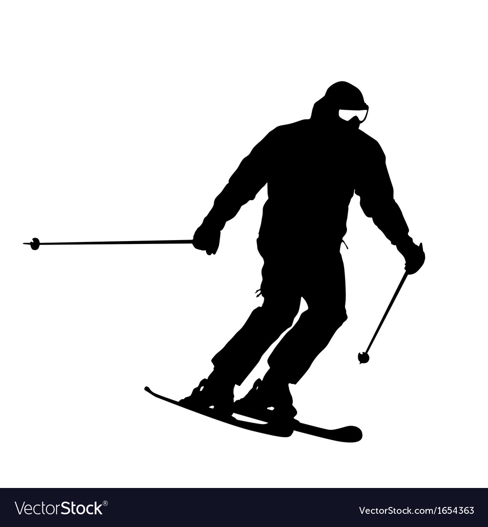 Mountain skier speeding down slope sport silhouett vector | Price: 1 Credit (USD $1)