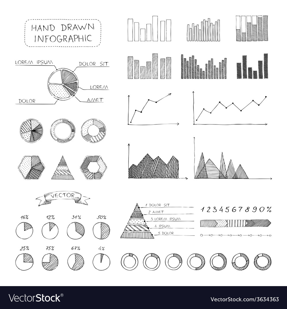 Set of sketch business infographic elements vector | Price: 1 Credit (USD $1)