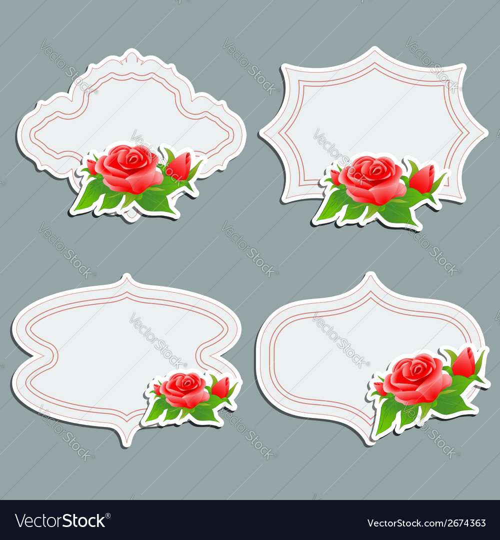 Set of vintage greeting cards with bright rose vector | Price: 1 Credit (USD $1)