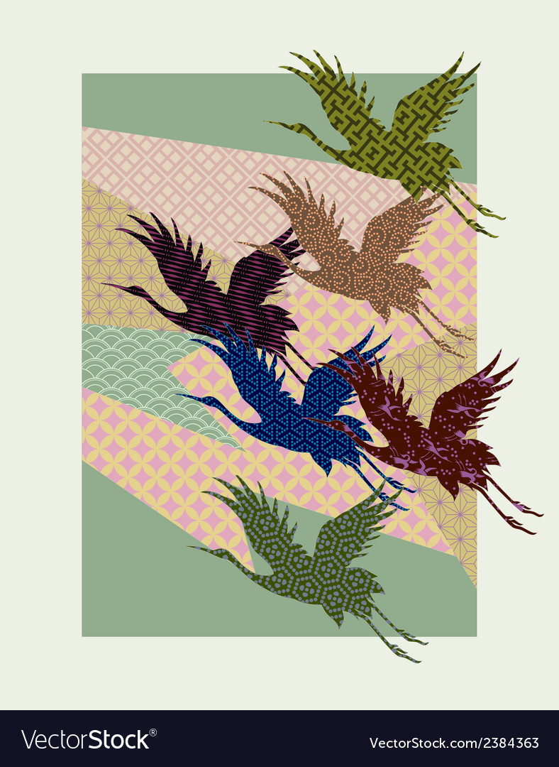 Silhouettes of japanese cranes filled with vector | Price: 1 Credit (USD $1)