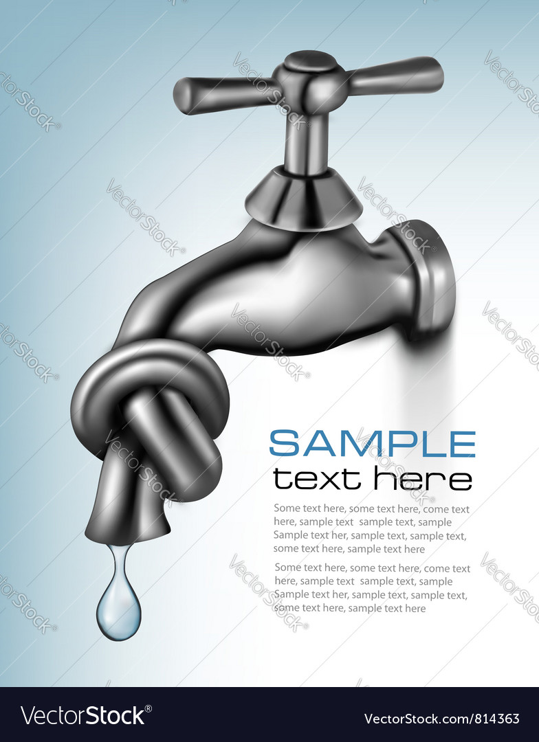 Water tap closed blue background vector | Price: 3 Credit (USD $3)