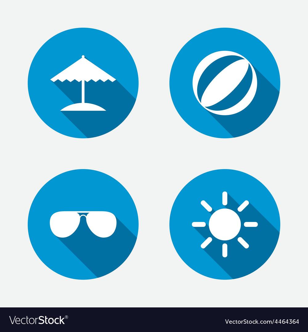Beach holidays icons umbrella and sunglasses vector | Price: 1 Credit (USD $1)