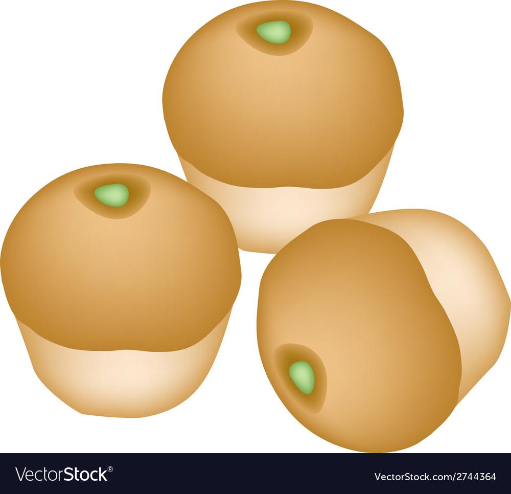 Bun bread stuffed with green coconut cream vector | Price: 1 Credit (USD $1)