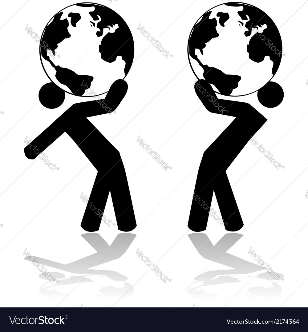 Carrying the planet vector | Price: 1 Credit (USD $1)