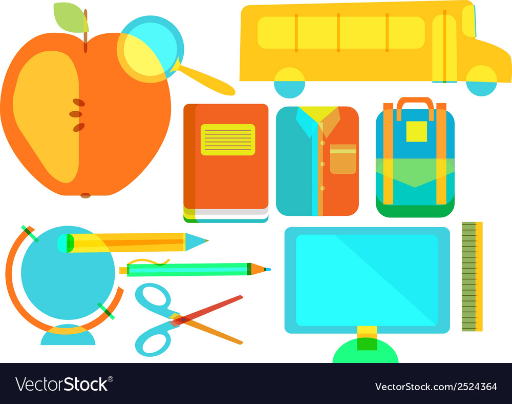 Color school icon collection vector | Price: 1 Credit (USD $1)