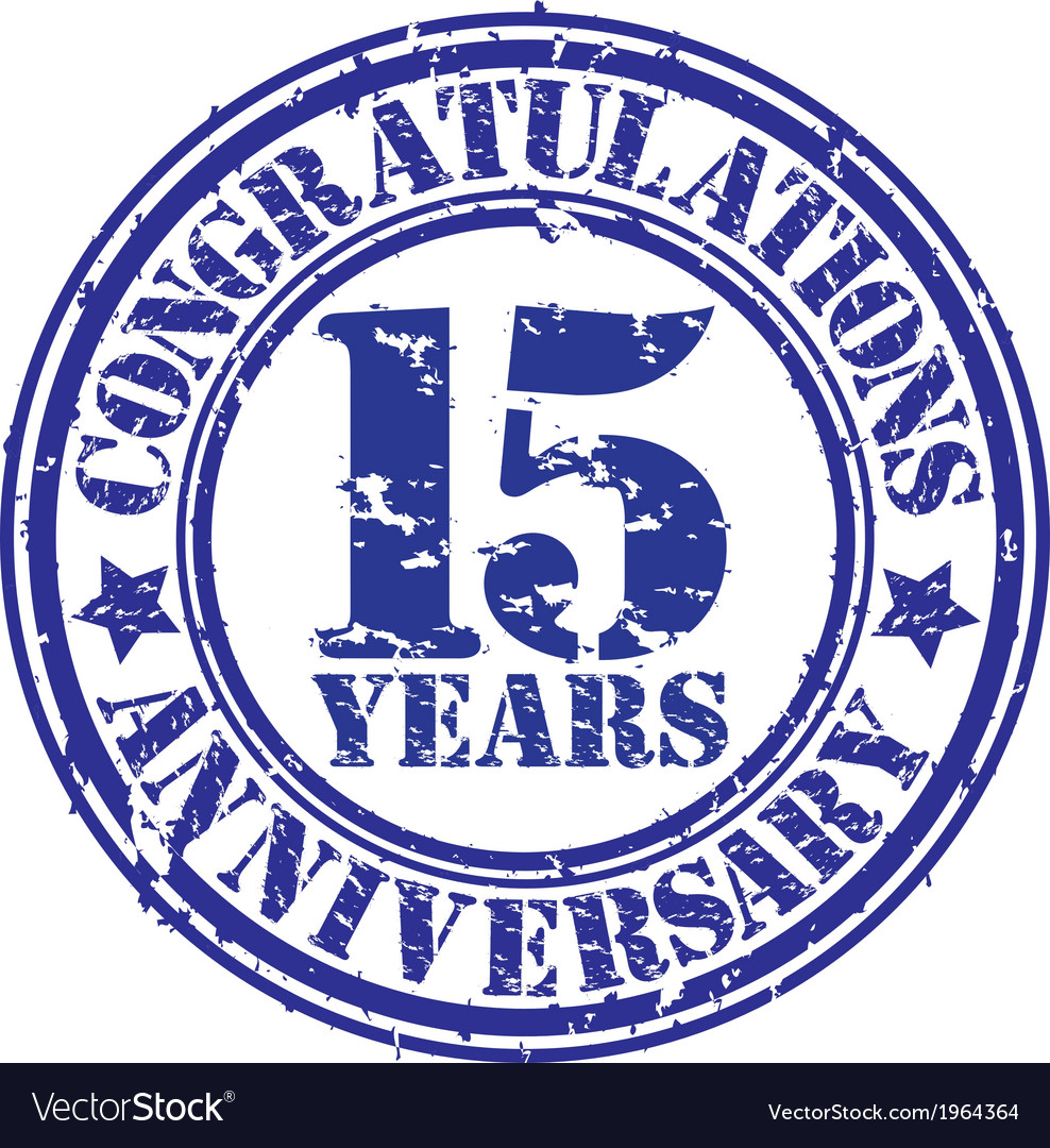 Congratulations 15 years anniversary grunge rubber vector | Price: 1 Credit (USD $1)