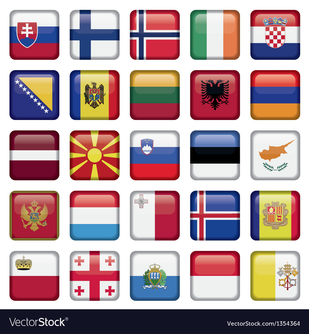Europe buttons square flags vector | Price: 1 Credit (USD $1)