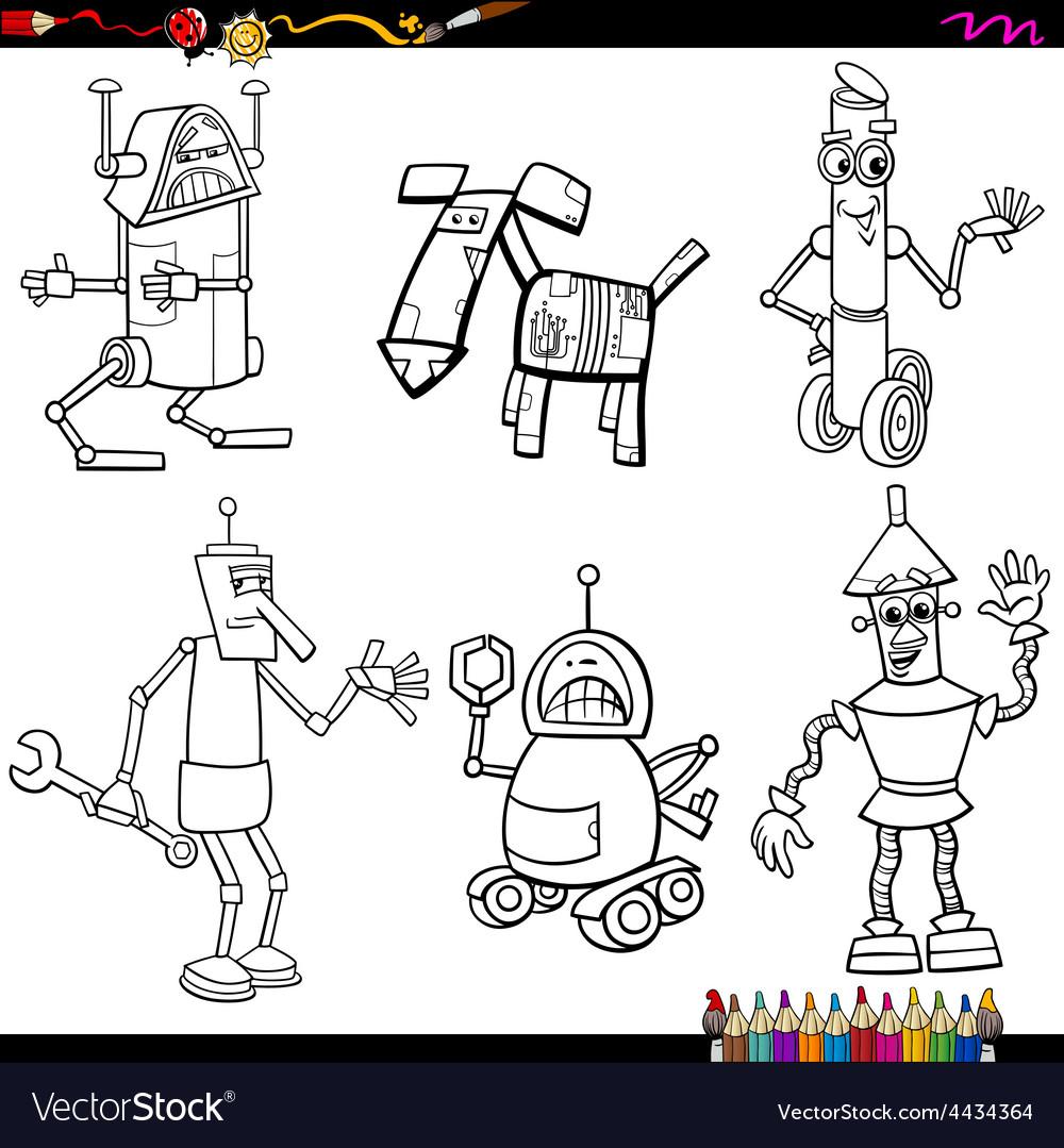 Fantasy robots cartoons coloring page vector   Price: 1 Credit (USD $1)