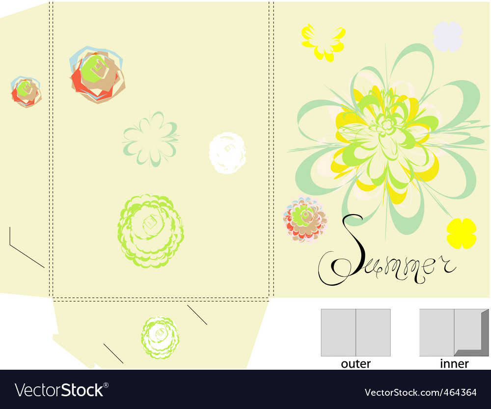 Template for folder with flowers vector | Price: 1 Credit (USD $1)