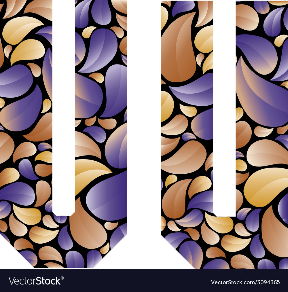 Beautiful floral alphabet letters u and v vector | Price: 1 Credit (USD $1)