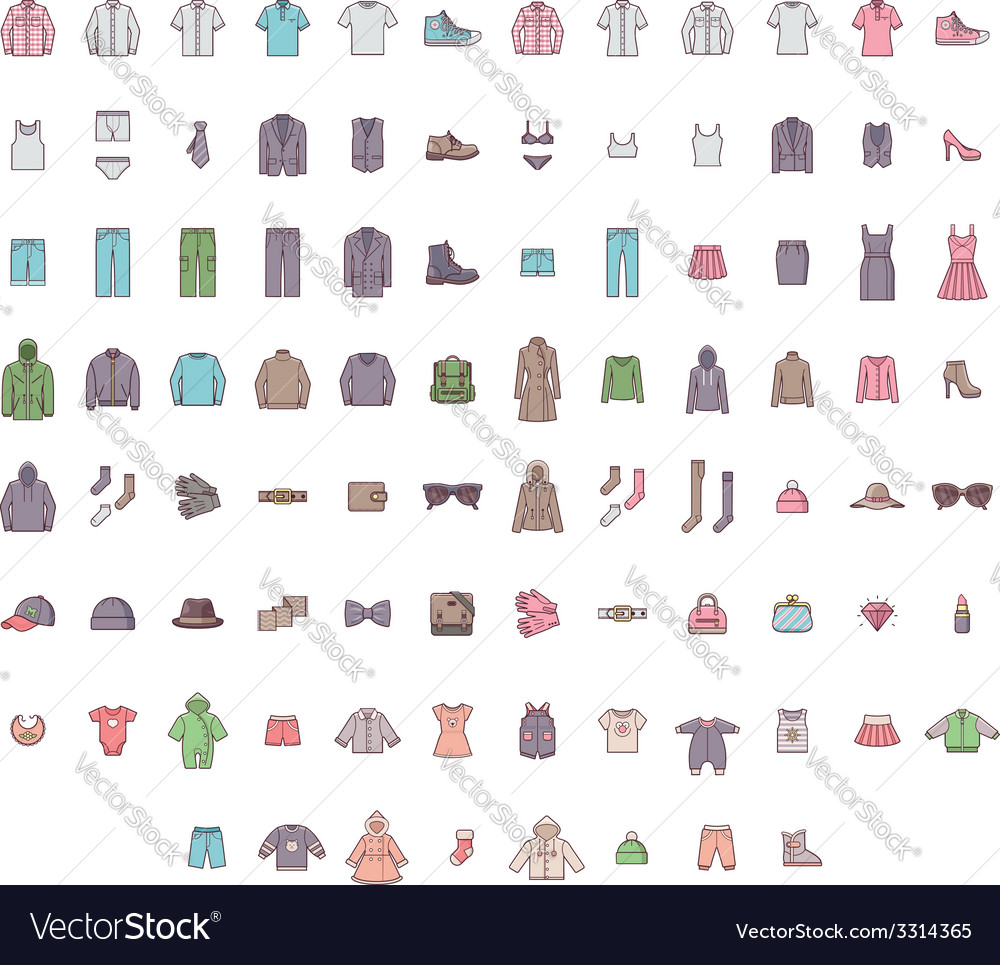 Big clothes set vector   Price: 1 Credit (USD $1)