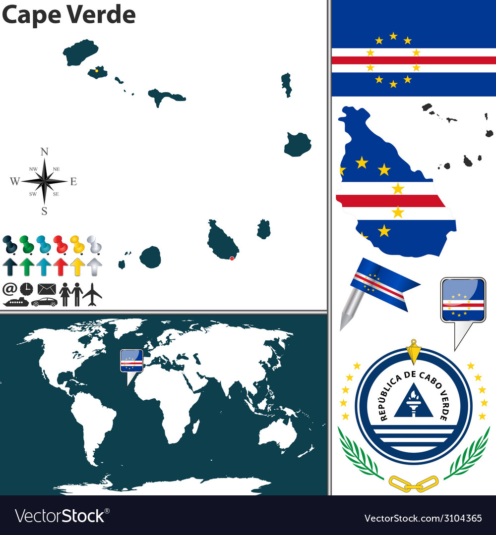 Cape verde map world vector | Price: 1 Credit (USD $1)