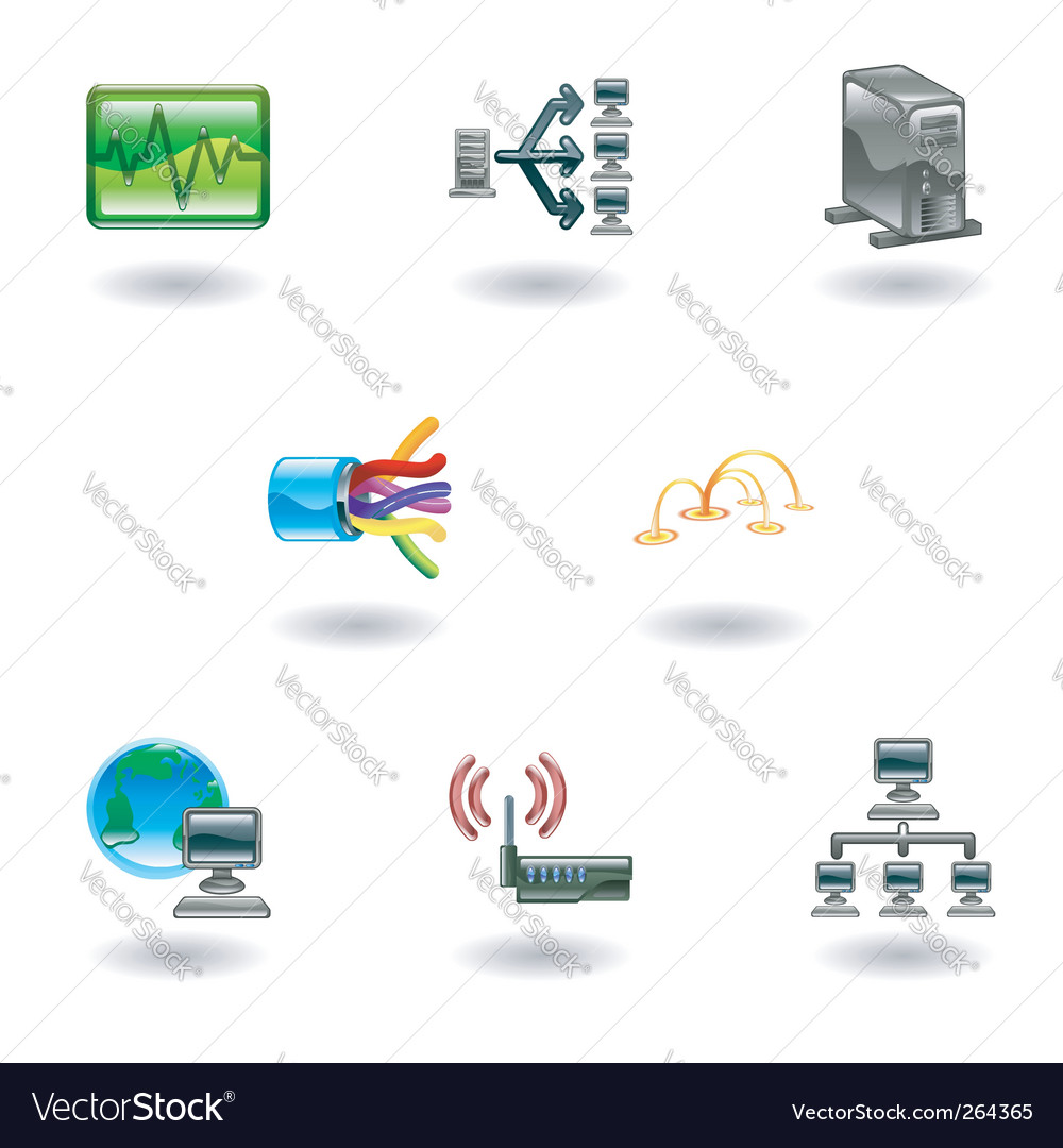 Computer network icon set vector | Price: 1 Credit (USD $1)