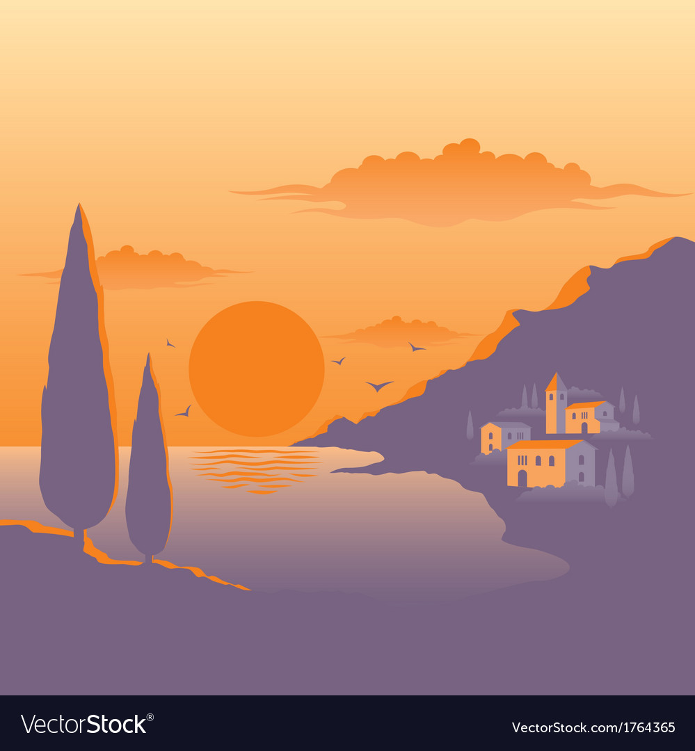 Mediterranean sunset vector | Price: 1 Credit (USD $1)