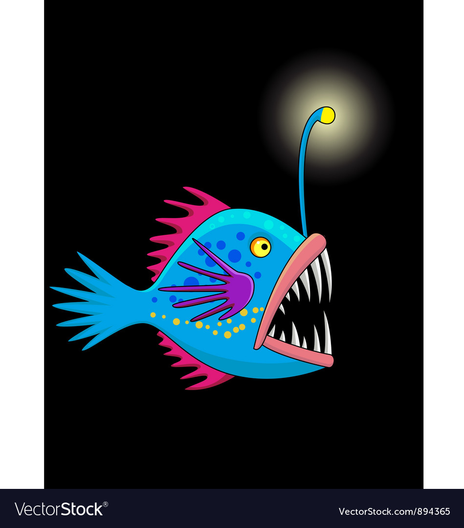Nice deep sea fish cartoon vector | Price: 3 Credit (USD $3)