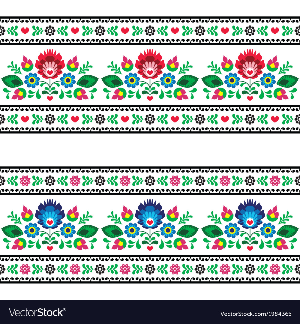 Seamless polish folk pattern with flowers vector | Price: 1 Credit (USD $1)