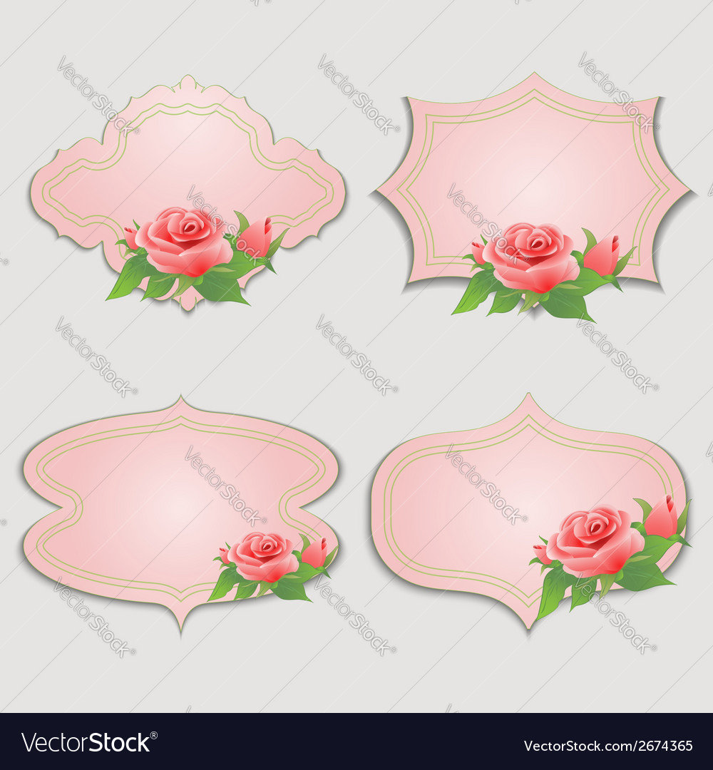 Set of vintage greeting cards with rose vector | Price: 1 Credit (USD $1)