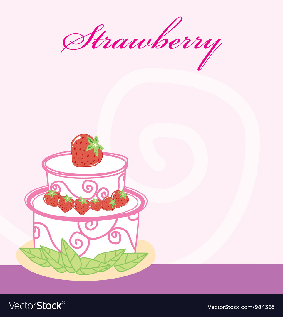 Strawberry cake memo vector | Price: 1 Credit (USD $1)